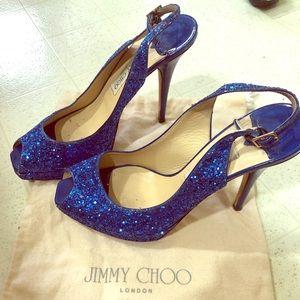 Jimmy Choo Blue Glitter Slingback Peep toe Pumps